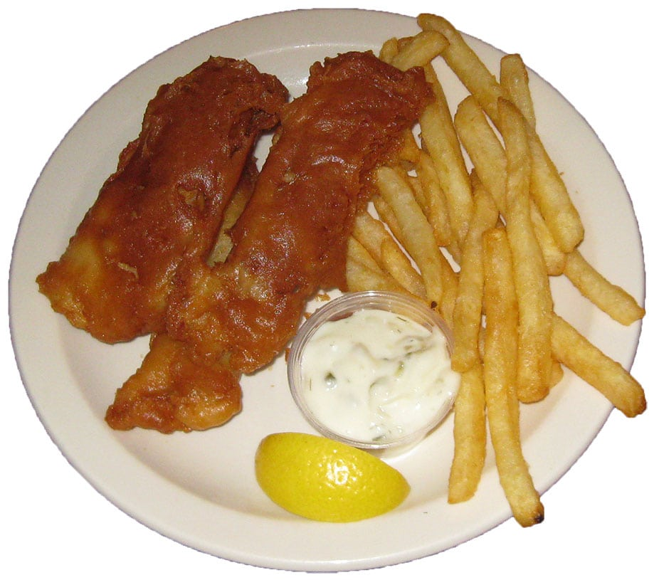 Beer battered fish, french fries and tartar-sauce dinner plate.