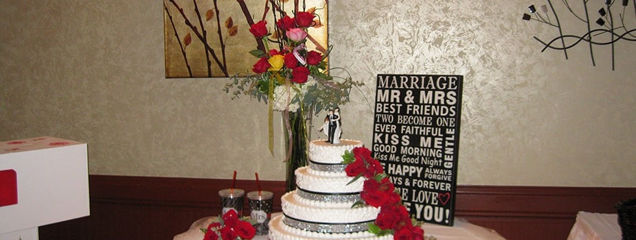 Wedding cake and gift table at the KC Hall, Fond du Lac, WI.