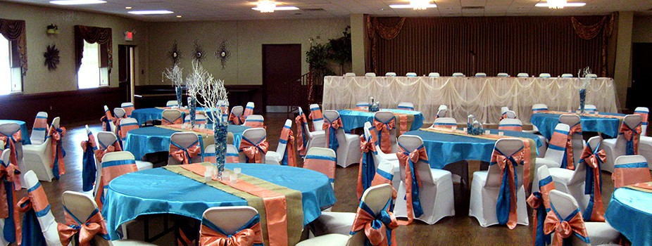 Wedding hall bright and artistic setup at the KC Hall in Fond du Lac, WI.