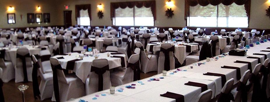Wedding reception fancy setup at the KC Hall in Fond du Lac, WI.