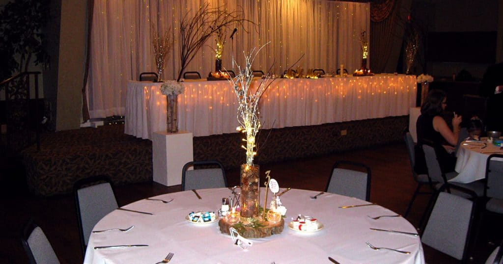 Katie Blum and Brad Jones Wedding Reception table setup on January 19, 2019.