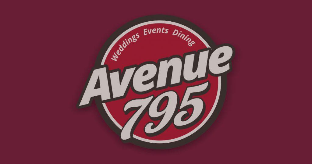 Avenue 795 logo with burgundy back. Name change banner.