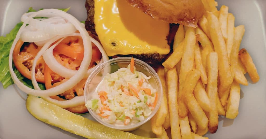 Wednesday Carry Out: Cheeseburger and fries with cole slaw.